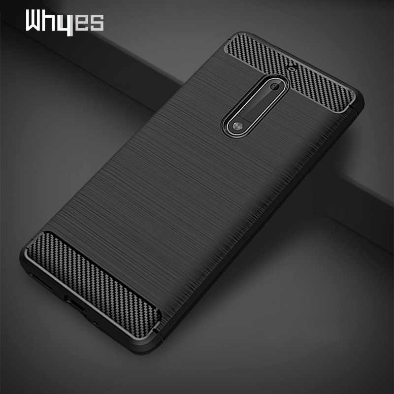 Whyes Case For Nokia 5 2 3 6 Carbon Fiber Soft TPU Heavy ShockProof Cover Full Protector Fitted Case For Nokia 6 Nokia 3 Conque