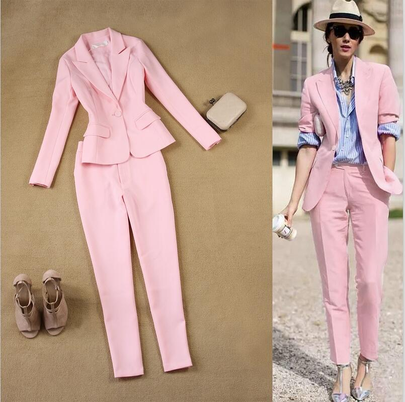 new Women 2 Pieces Sets Womens Business Suits Pink Pants Suit Formal OL Business Suit Long Sleeve trouser suit