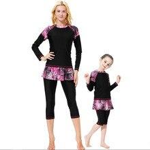 3 PCS Plus Size Maillot De Bain Hijab Girls Muslim Swimwear Burkini Women Modest Bathing Suit Islamic Swimsuit for Kids Hasema