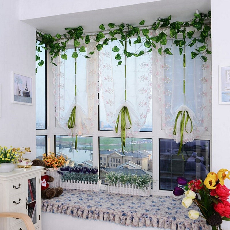 Living Room Kitchen Cortinas Window Roller Blinds Embroider Flower Short Sheer Curtains Roman Shade Blind Cafe Shop Decor 1PCS In From Home