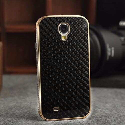 bilder für Luxus Metall Aluminiumstoß & Carbon Back Cover Original Handy-fälle Für Samsung Galaxy S4 i9500 Schutzhülle