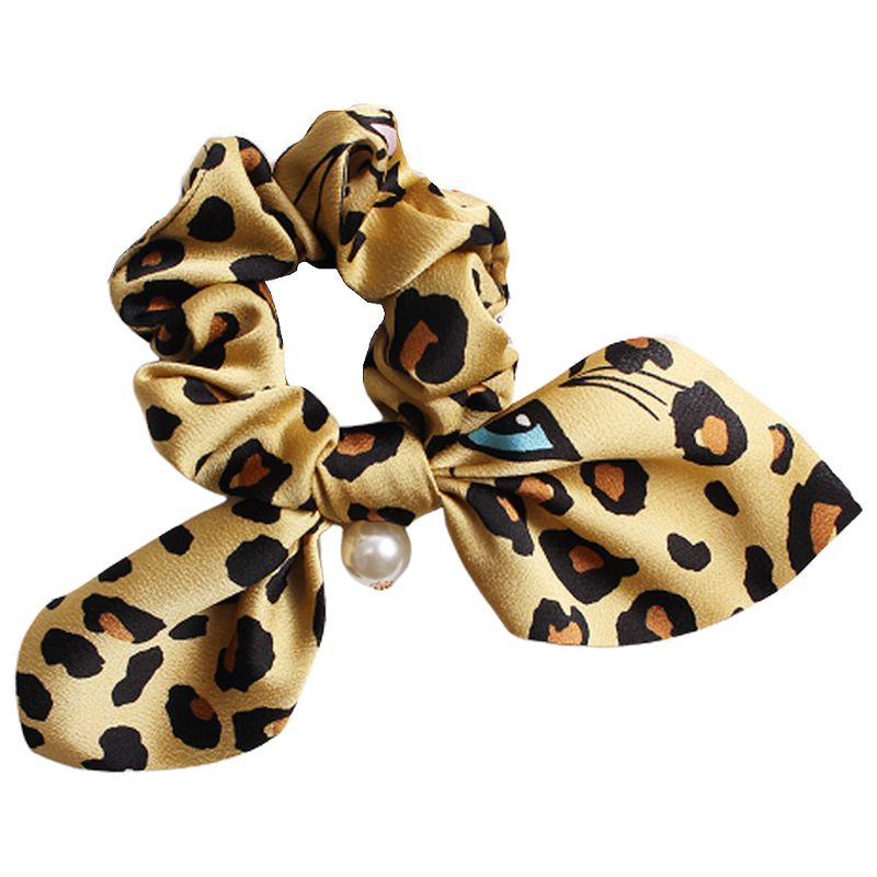 Women Vintage Leopard Eye Expression Print Hair Rope Rabbit Ear Ribbon Bowknot Ponytail Holder Imitation Pearl Charms Scrunchies in Women 39 s Hair Accessories from Apparel Accessories