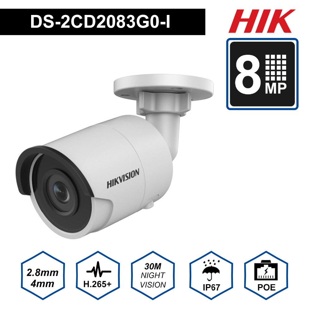 Hik Новый Камера Пуля IP Камера POE Открытый DS 2CD2083G0 I 8MP безопасности Камера H.265 с слот для карты SD и 30 м ночного видения