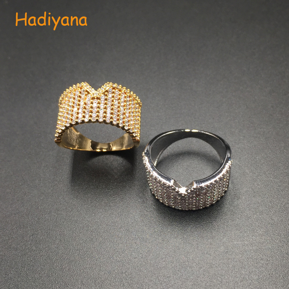 HADIYANA Classic Sparkling Cubic Zirconia Irregular V Trendy Finger Ring for Women Perfect Prom Dinner Party Sliver Gold CP355