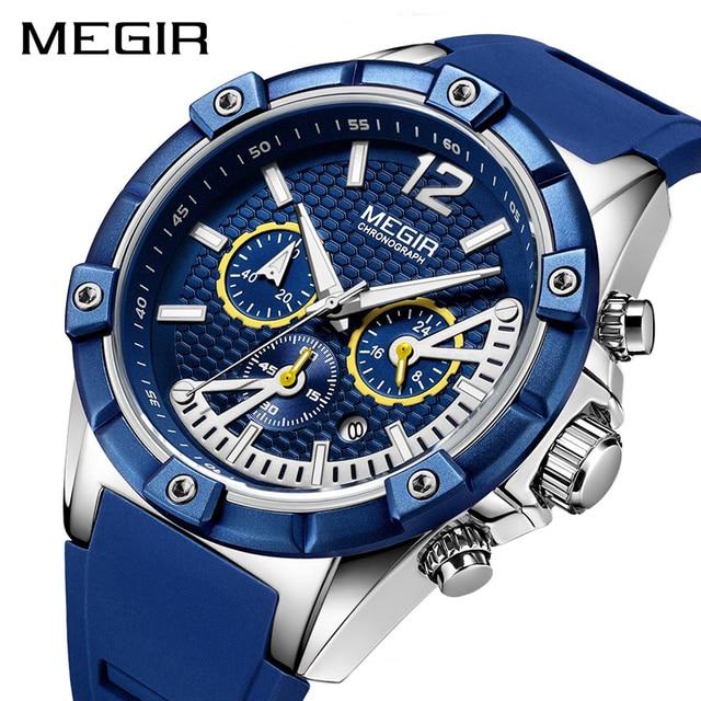 4ead4d3516b1 Relojes de cuarzo creativos de silicona para hombre reloj deportivo  cronógrafo MEGIR reloj de pulsera militar