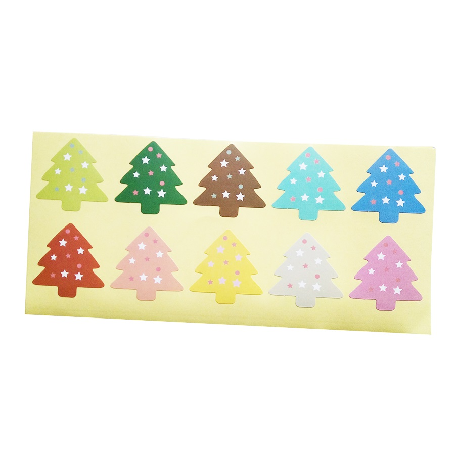 100Pcs/lot New Colourful Christmas Tree Theme Sealing Sticker/DIY Gifts Baking Decoration Packaging Label/Multifunction