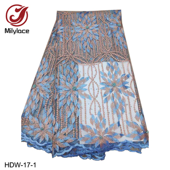 2019 Latest French Nigerian Laces Fabric High Quality Tulle African Mesh Laces Fabric for Wedding Party HDW-17