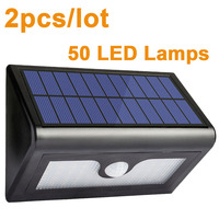 2pcs Lot IP65 LED Solar Light 50 2835 Lamps Motion Sensor Garden Wall Light Street Outdoor