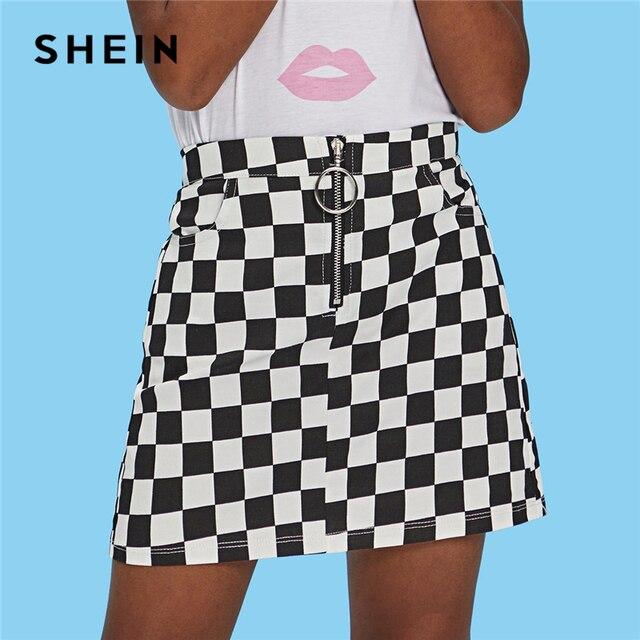 Шеин детских Черный и белый уплотнительное кольцо молния клеточку карман Повседневное юбки для девочек 2019 Лето линия Элегантные мини-юбка для девушек