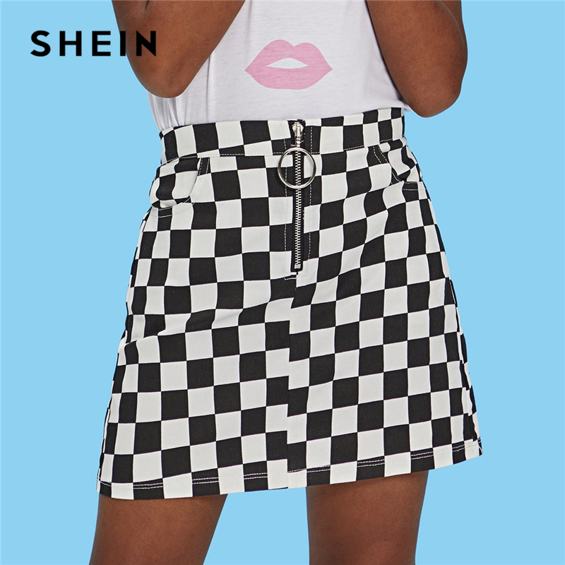 SHEIN Kiddie Black and White O-Ring Zip Gingham Print Pocket Casual Girls Skirts 2019 Summer A Line Elegant Girl Mini Skirt