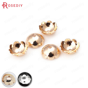 20PCS 8MM 10MM 24K Champagne Gold Color Plated or Silver color Brass Flower Beads Caps High Quality Jewelry Accessories