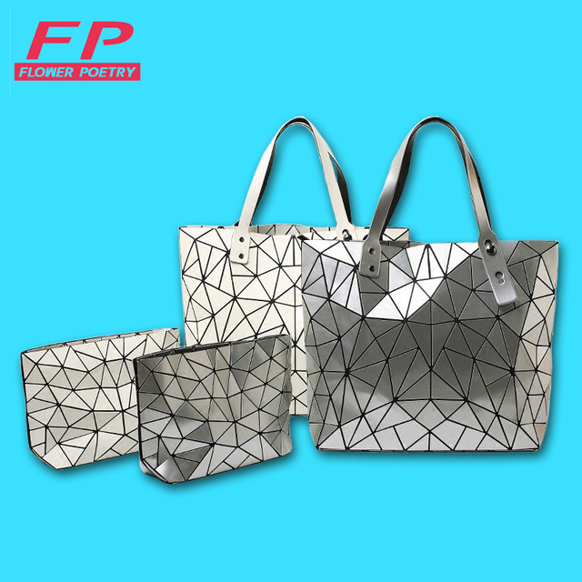 Designer Bao Bao Bags Tote Folded Quilted baobao Diamond Women Handbag bag Women 2016 Geometric Laser Bag Shoulder 2 pieces