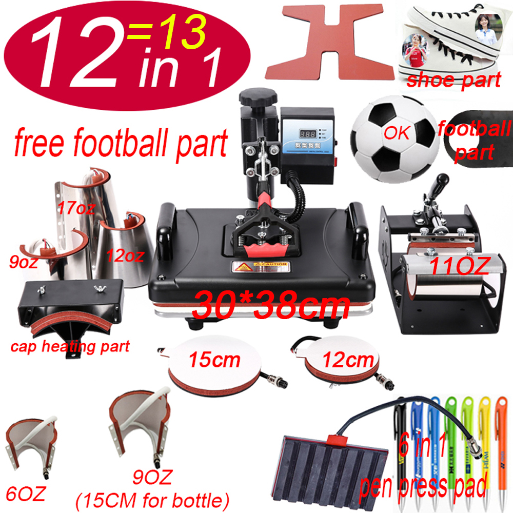 All-round 13 In 1 Combo Heat Press Printer Machine Shoe Pen Press Machine For Cap Mug Plate Bottle T-shirts Printing Machine