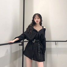 цена на Autumn New Women's V-Neck Office Blouse Fashion Belt Buckle Off The Shoulder Long Shirts Solid Lady Blouse Black Tops
