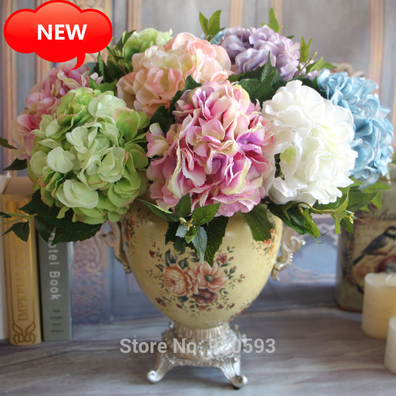 NEW Hydrangea Flowers 6PCS 46cm Artificial Autumn 5 Colors Home Decorations For Wedding Party Photography In Dried From