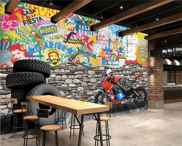 Beibehang Custom Wallpaper Tooling Background Hotel Dining