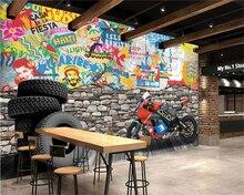 Beibehang Personalizado Ferramental Fundo Papel De Parede Decoração Mural Do Hotel Jantar Motocicleta de Rua Parede de Tijolos Graffiti 3d papel de parede