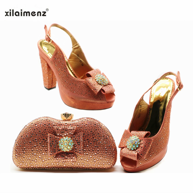 Yellow Color New Arrivals Matching Shoes and Bag Set In Heels Matching Shoes and Bag Set for Royal Party Italian Sandals