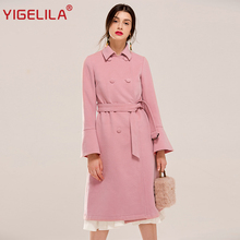 YIGELILA 9468 Latest New Women Fashion Solid Double Breasted Flare Sleeve Slim Belt Wool Coat