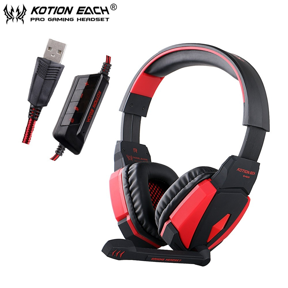 Kotion EACH G4000 Stereo Gaming Headphones USB Stereo Headset Headband with Microphone Volume Control LED Light for Phones Gamer each g8200 gaming headphone 7 1 surround usb vibration game headset headband earphone with mic led light for fone pc gamer ps4
