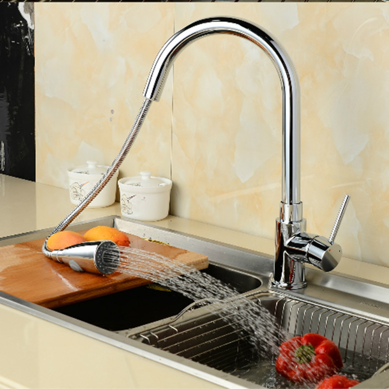 Kitchen Faucet Pull Out Shower 360 Degree Swivel Kitchen Sink Basin ...