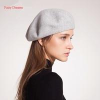 Fairy Dreams Wool Berets Women Autumn Winter Solid Hat Cashmere Boina Feminina Warm High Quality Gray