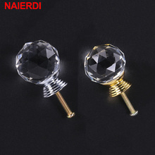 NAIERDI 20-30mm Crystal Ball Design Clear Crystal Glass Knobs Cupboard Drawer Pull Kitchen Cabinet Wardrobe Handles Hardware kak 20 40mm diamond shape design crystal glass knobs cupboard drawer pull kitchen cabinet door wardrobe handles hardware
