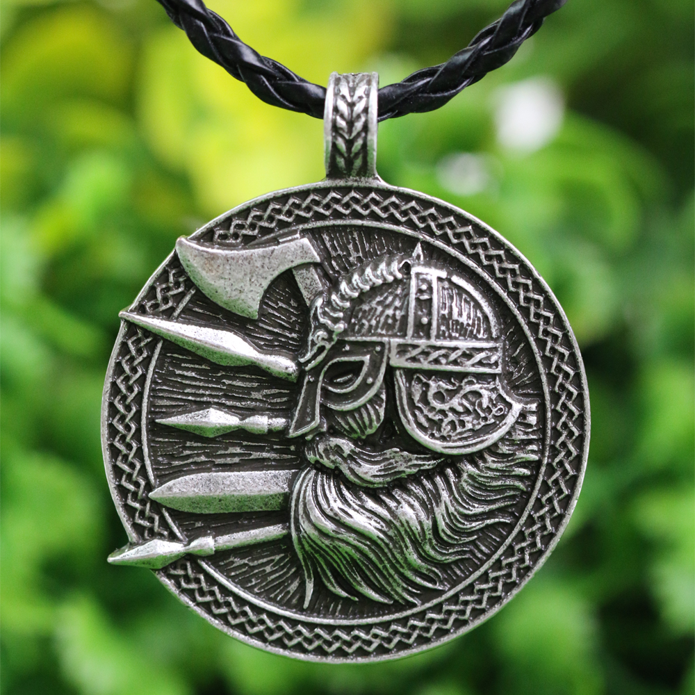 LANGHONG 1pcs Nordic Viking Pendant Necklace Norse Viking Soilder with Sword and Axe amulet pendant Necklace langhong 10pcs the om necklace tibet mandala necklace tibet spiritual necklace geometry amulet religious jewelry