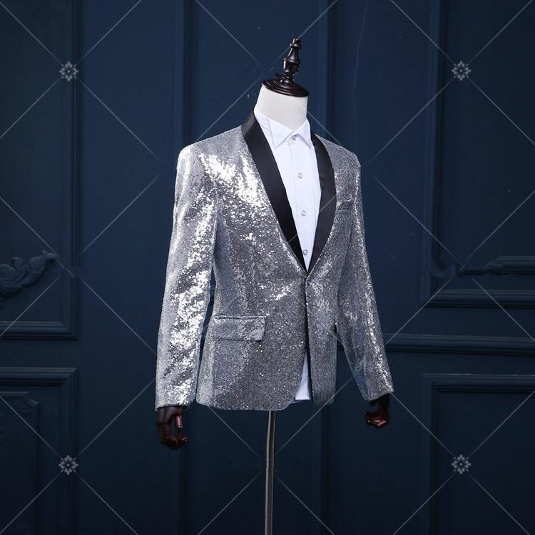 Gümüş blazer düğün damat ceket dış giyim erkek giyim - Erkek Giyim - Fotoğraf 2