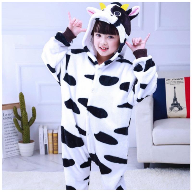 Kids Cows Pajama Teenager Siamese Cartoon Cosplay Pajamas Boys and Girls Long Sleeves Homewear Coral Flannel Sleepwear B-5975