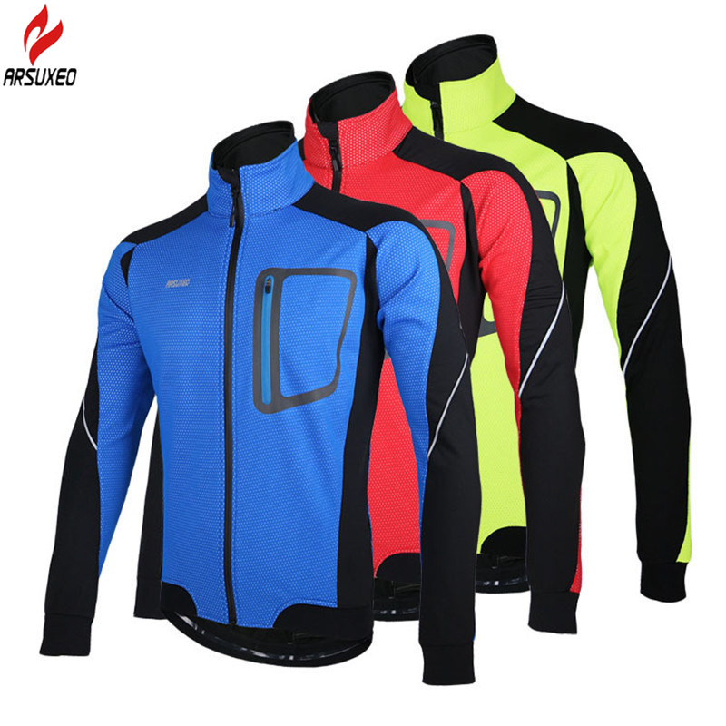 ФОТО ARSUXEO Men Hiking Jacket Coat Fleece Thermal Windproof Windbreaker Outdoor Sport MTB Riding Running Camping Jacket Winter