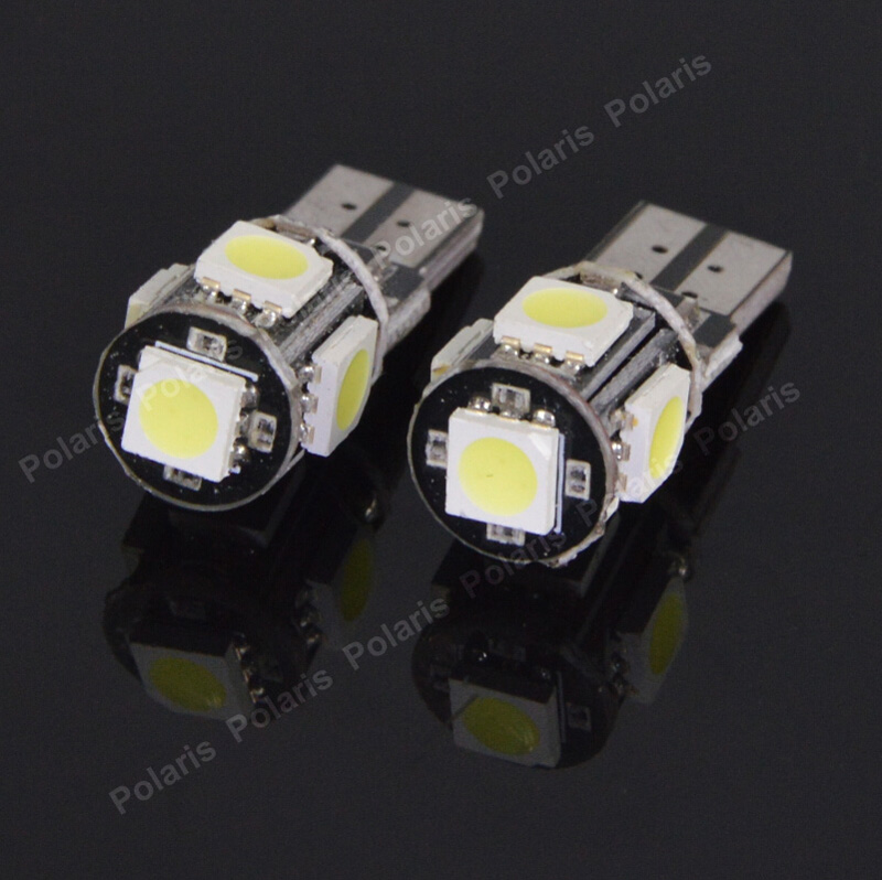 2Pcs T10 W5W LEDs 194 501 5 5050 SMD Canbus Error Free Car Interior lights Clearance Lamp Wedge Light Auto Led Bulbs DC 12V t10 1w 70lm 2 x smd 5630 led error free canbus white light car clearance lamp dc 12v 2 pcs