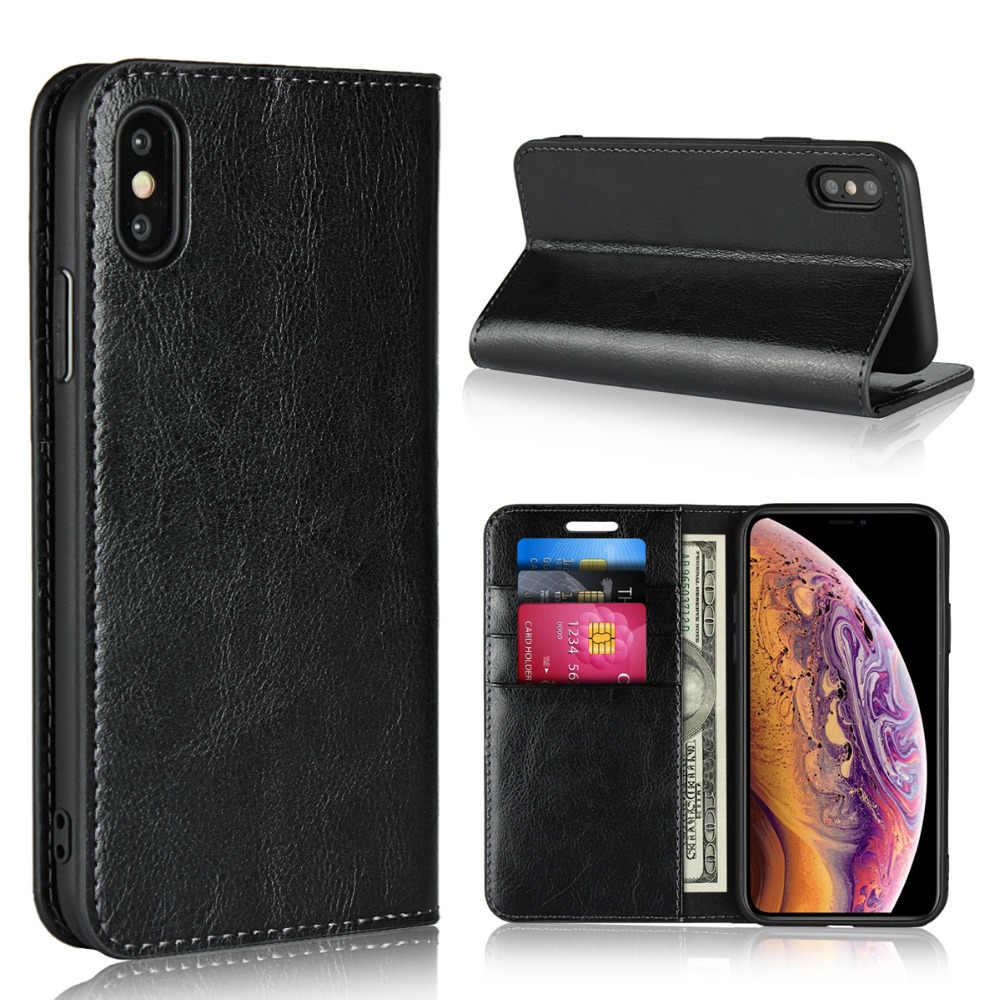 LUCKBUY Voor iPhone Serie Klassieke Lederen Portemonnee Stand Flip Credit Card Zakken voor iPhone X XS XR iPhone XS max cover