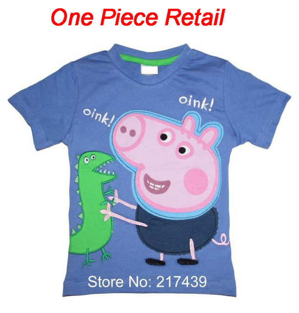One Piece Retail Brand New George Pig Peppa Pig boy boys kids short sleeve blue Embroidery t shirt top tee free shipping
