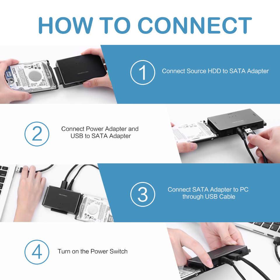 QGeeM SATA إلى USB 3.0 IDE محول USB2.0 Sata كابل ل 2.5 3.5 SATA IDE محرك أقراص صلب محول USB C OTG HDD SSD USB محول