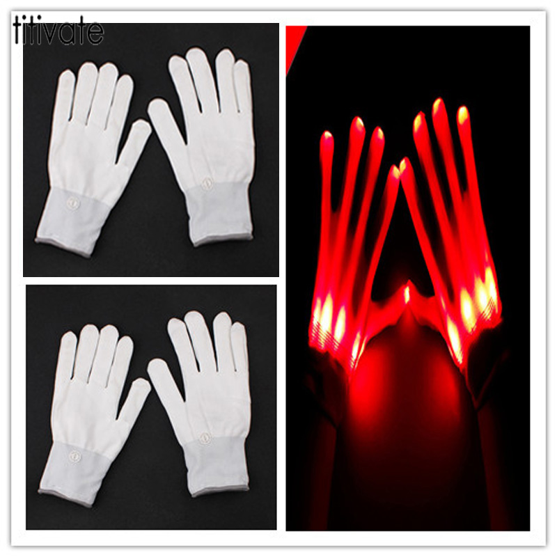 TITIVATE 2017 Fashion Magic Glove Solid Red Flash Fingertip Led Gloves Unisex Light Up Glow Stick Gloves Mittens For Men Women
