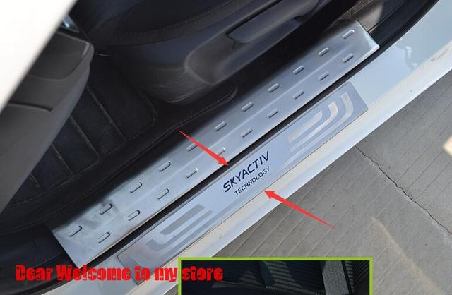 For 2014 Mazda 3 AXELA M3 CX-5 Sedan Hatchback CAR Accessories 304 Stainless Steel Door Sill Scuff Plate Protector SkyaCtiv