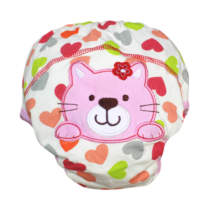 MACH Layer learning panties of washable cotton waterproof cat pattern for baby pink