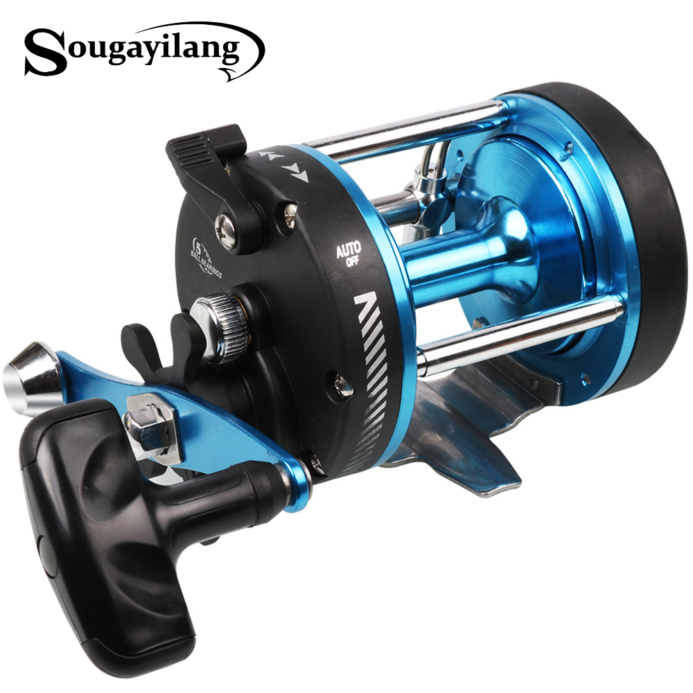 Sougayilang Blue Metal Jigging Fishing Reel Rock Drum Casting Reel Trolling Reels Boat Baitcasting Sea Fishing