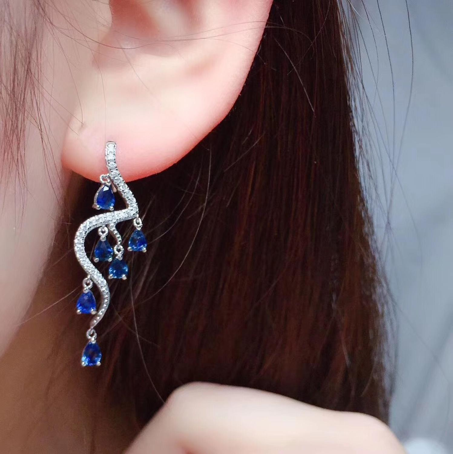 Natural sapphire earring Free shippin Natural real colorful sapphire 925 sterling silver Earring