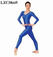 LZCMsoft Adult Basic Scoop Neck Nylon Long Sleeve Unitard Women Royal Blue Full Body Unitards For