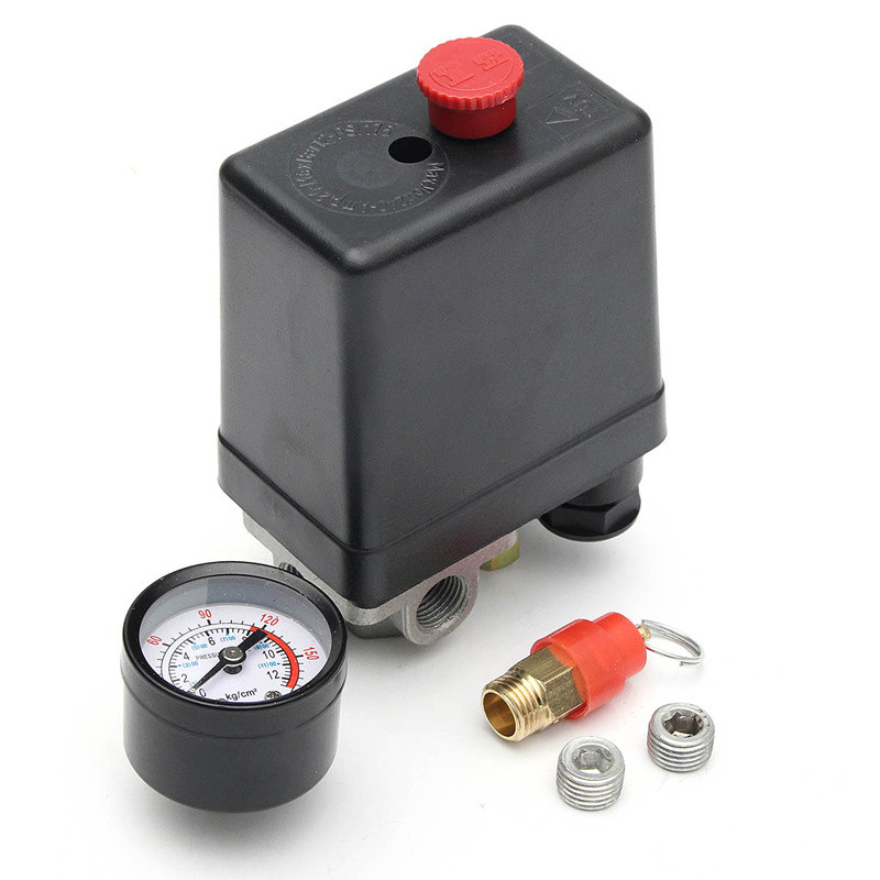 Air Compressor Pump Pressure 0-175 PSI Switch Control Valve 12 Bar 240V 4 port Hot Sale vertical type replacement part 1 port spdt air compressor pump pressure on off knob switch control valve 80 115 psi ac220 240v