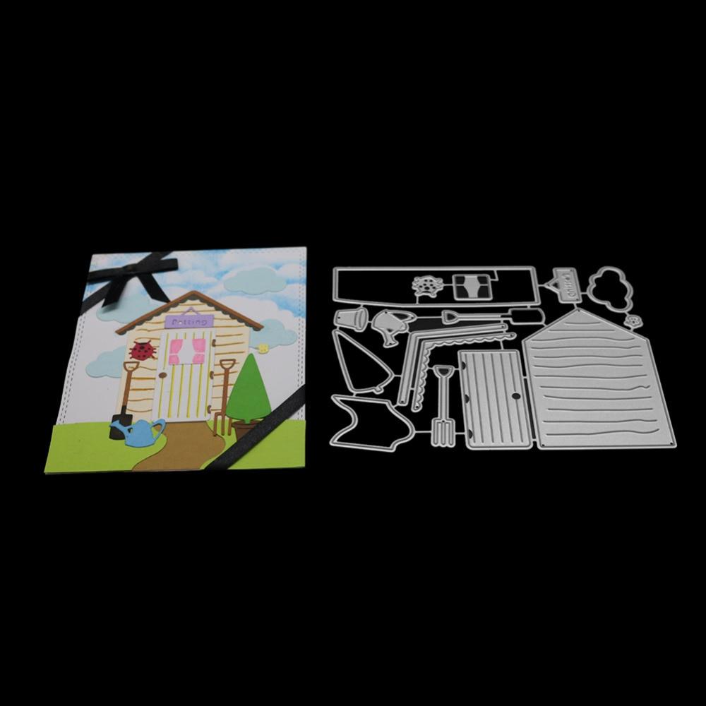 145*116mm House & Road Set Metal Cutting Dies Stencils for DIY Hands-on Scrapbooking Album Paper Photo Card Cut Decorative Craft