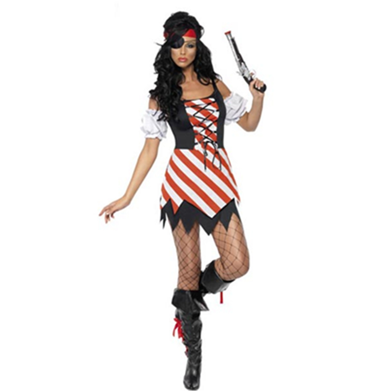 Loveliness Lace-up Front <font><b>Dress</b></font> Simple Pirate Night Cosplay Costume <font><b>Halloween</b></font> Lady <font><b>Sexy</b></font> Pirate <font><b>Dress</b></font> L1326 image