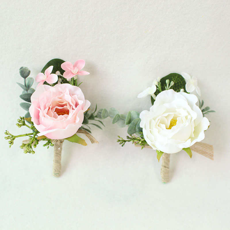 white pink roses Wedding Marriage Rose Wrist Corsage boutonnieres  (25)