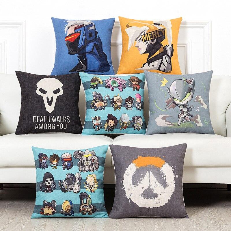 Spēle OW D.Va Mercy Hanzou Genji SOLDIER: 7 Reaper spilvena vāka dīvāns krēsls Lina mājas sēdeklis Dekoratīvais spilvens korpuss Jauns