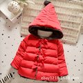 Winter Baby Girls Cotton Down Solid Bow Hooded Kids Infant Parkas Princess Style Snow Wear Outerwear Coat casaco roupas T0215