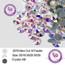 8+8 Cut 16 Facets Hot Fix Crystal AB Rhinestones Flatback Strass for Clothing Wedding Dress DIY Decoration