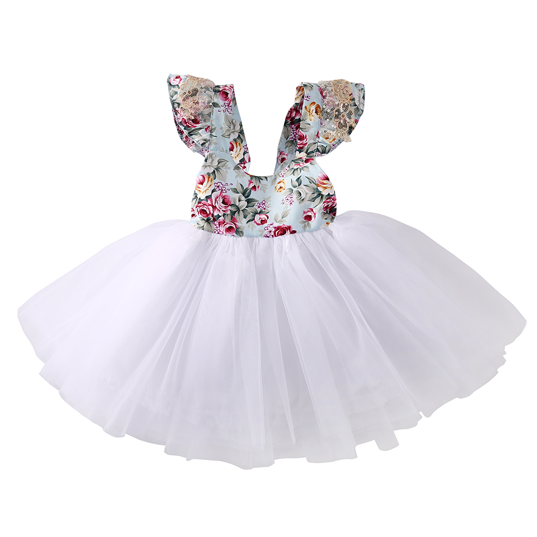 2 color Flower Girls Kids Baby Fly Sleeve Lace Floral font b Dress b font Party