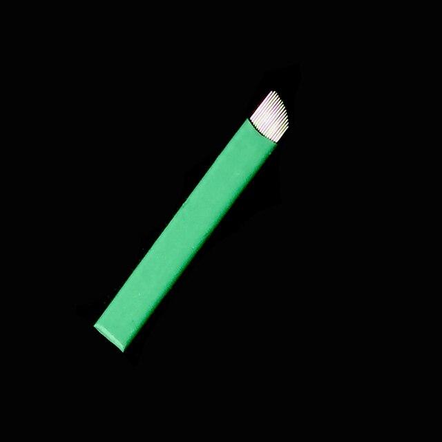 0.16mm Green Nano LAMINA MICRO 12 FLEX  CHANFRADA Microblading Needles  For Tebori Microblading Permannet Manual Pen 3